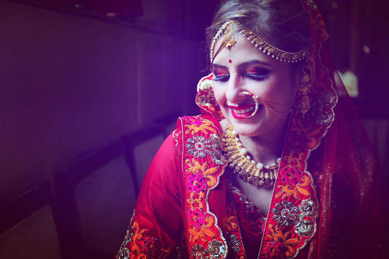 Bride Looking Resplendent in Red by Priyanka Bridal-makeup Bridal-jewellery-and-accessories | Weddings Photos & Ideas