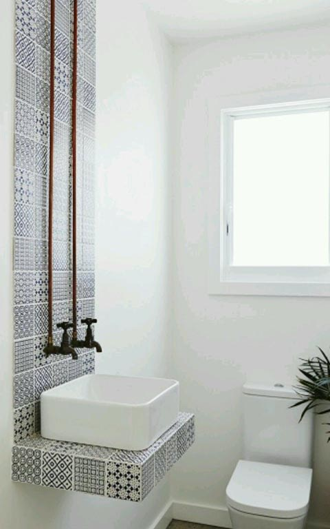 Elegant white theme bathroom decor by House Down The Lane Bathroom Modern | Interior Design Photos & Ideas