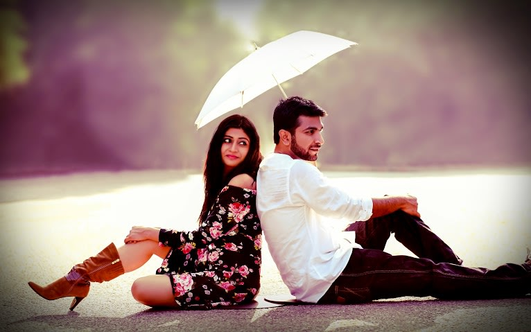 Bride and Groom To-Be Pose With an Umbrella by Himanshu Chauhan Wedding-photography | Weddings Photos & Ideas