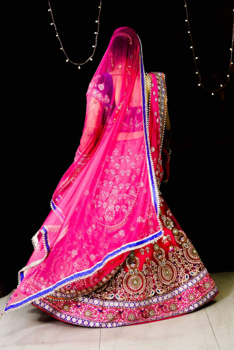 Bride Wearing Fuschia Pink and Blue Lehenga With Gota Patti Work by Himanshu Chauhan Wedding-dresses | Weddings Photos & Ideas