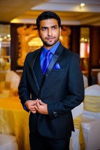 Groom Wearing Trendy Black Suit by Himanshu Chauhan Groom-wear-and-accessories | Weddings Photos & Ideas