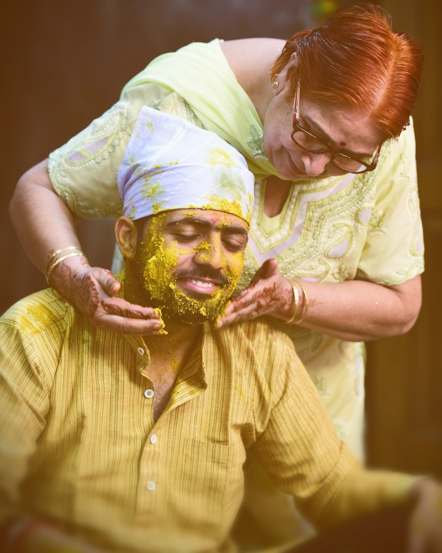 Candid Shot of Groom During His Haldi by Himanshu Chauhan Wedding-photography | Weddings Photos & Ideas