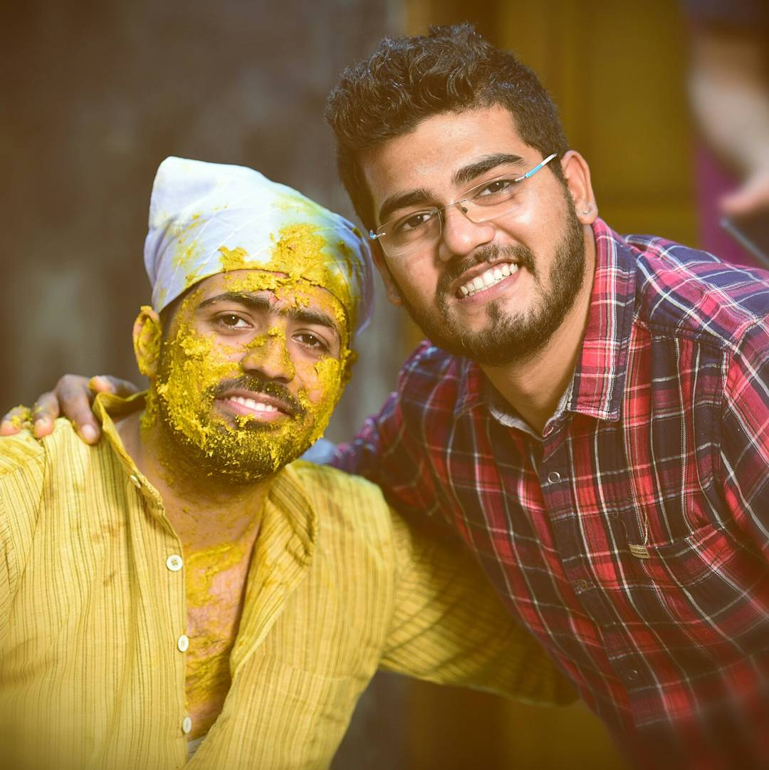 Groom Poses With Guests During His Haldi by Himanshu Chauhan Wedding-photography | Weddings Photos & Ideas