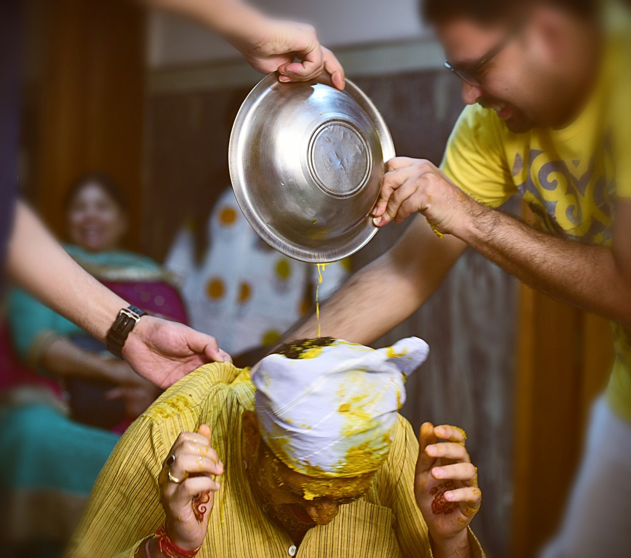 Candid shot of the groom during his haldi ceremony by Himanshu's Lomography Wedding-photography | Weddings Photos & Ideas