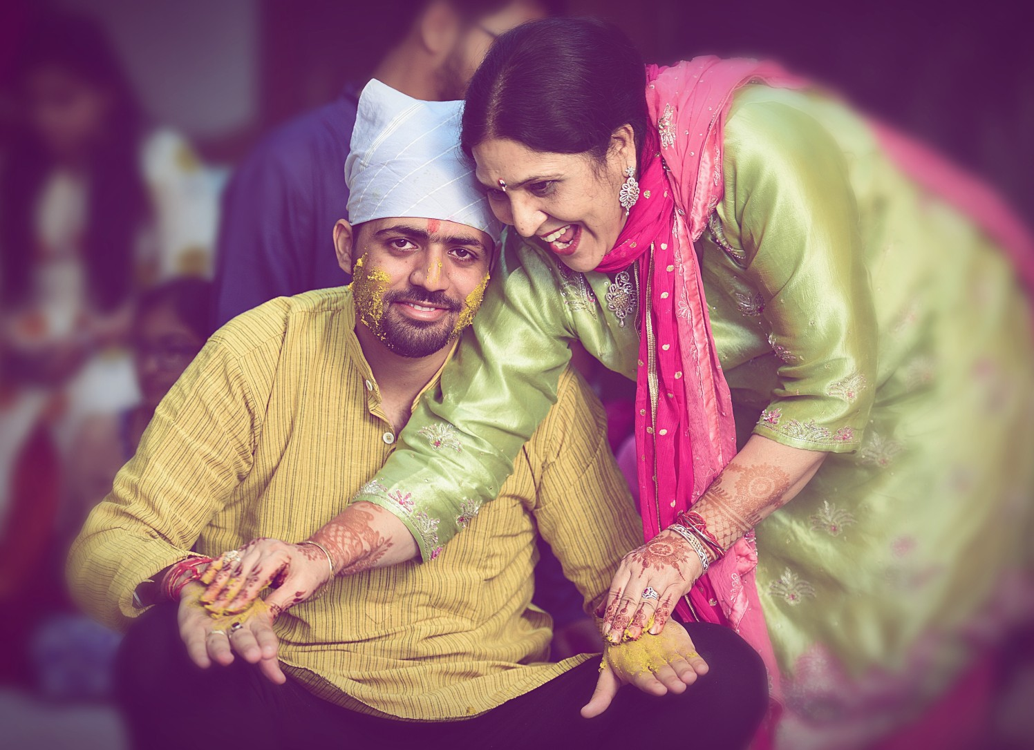 Groom With His Mother During His Haldi by Himanshu Chauhan Wedding-photography | Weddings Photos & Ideas