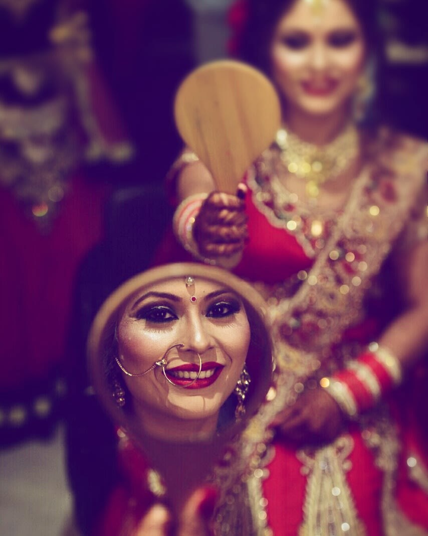 Beautiful mirror shot of bride-to-be by Himanshu's Lomography Wedding-photography | Weddings Photos & Ideas