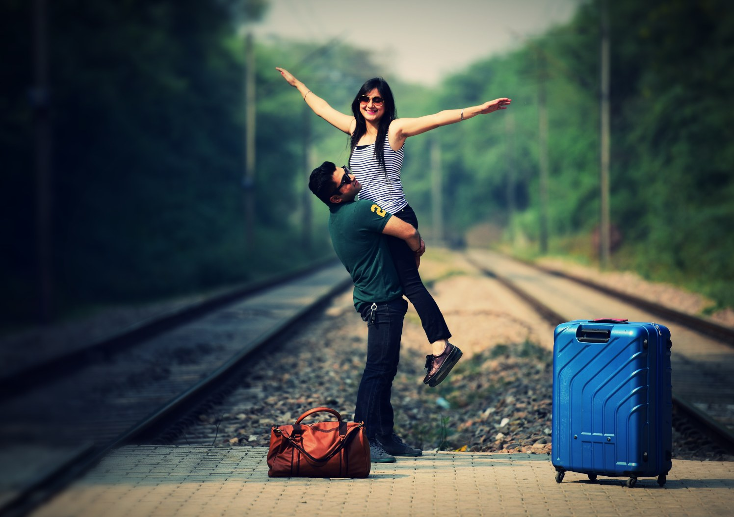 Bride and Groom To-Be Pose by the Railtracks by Himanshu Chauhan Wedding-photography | Weddings Photos & Ideas