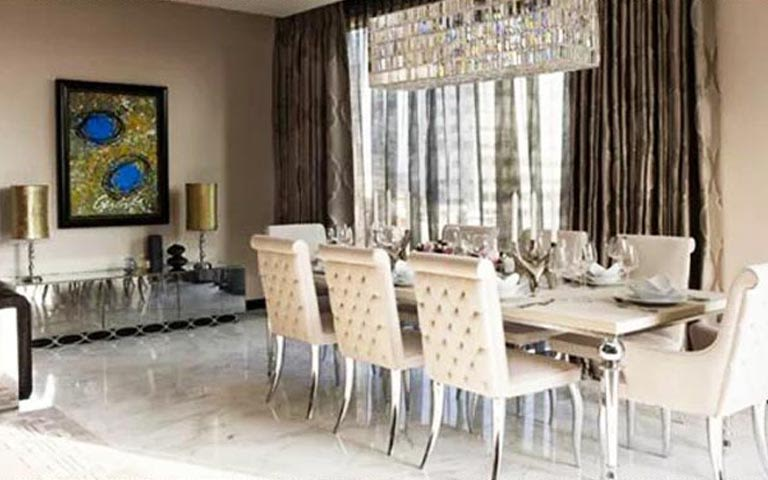 Royal Dining Room With White Chair and Halfs by Garima Gupta Dining-room Modern | Interior Design Photos & Ideas