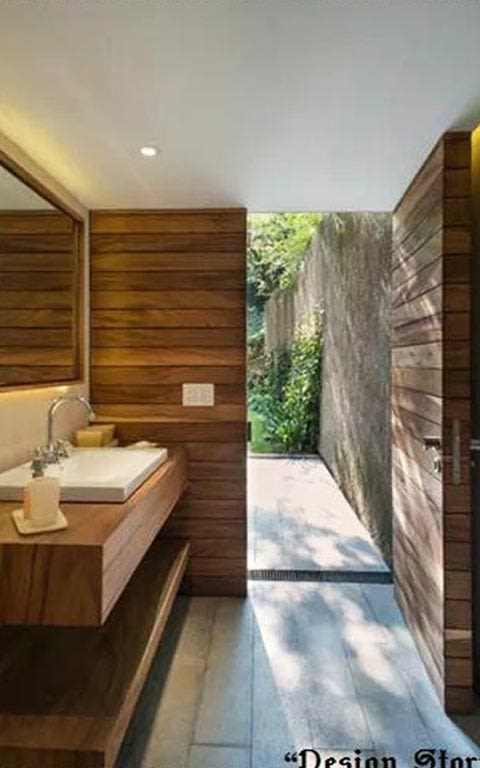 Wood Finish Bathroom by Garima Gupta Bathroom Modern | Interior Design Photos & Ideas