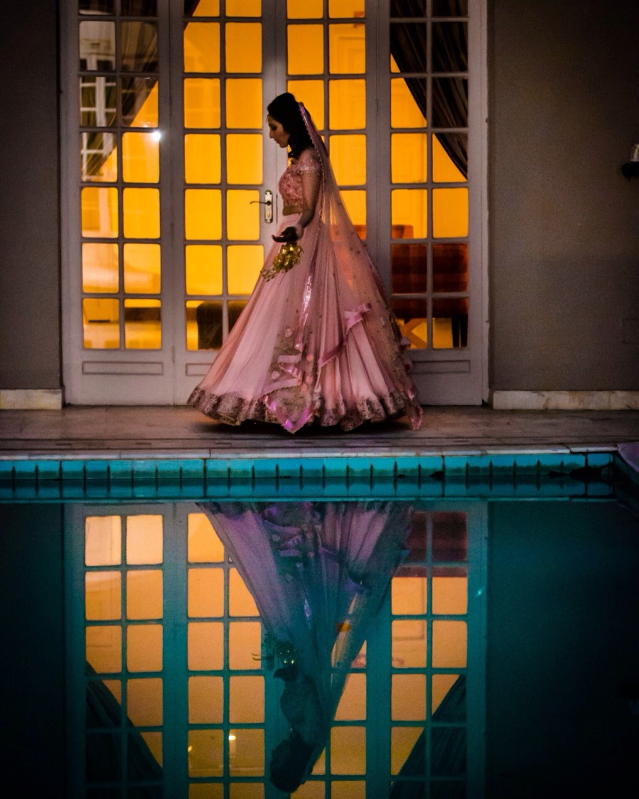 Bride Wearing Gorgeous Baby Pink Satin Lehenga by Amanpreet Kaur Wedding-photography Wedding-dresses | Weddings Photos & Ideas