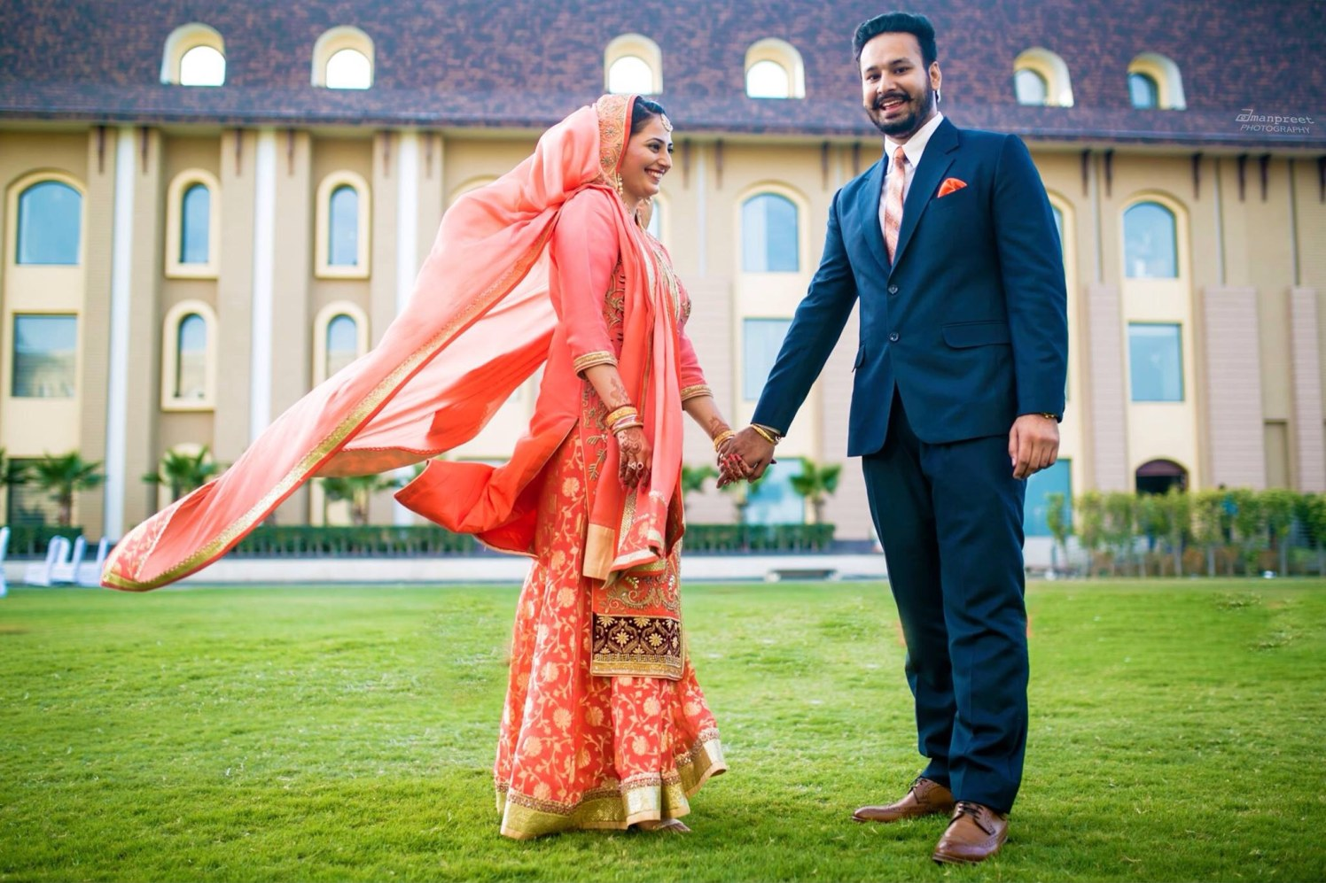 Bride and Groom Wearing Combination Outfits by Amanpreet Kaur Wedding-dresses | Weddings Photos & Ideas
