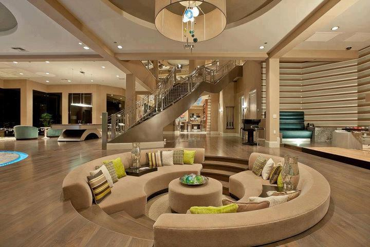 Light Brown Living Room With Round Sofa Set And Centre Table by Pratikshaa Pandey Living-room Contemporary | Interior Design Photos & Ideas