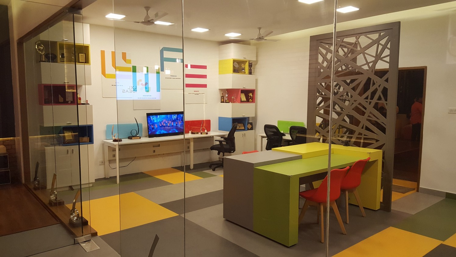 colourful cellular workspace by Vivospace Architects Modern | Interior Design Photos & Ideas