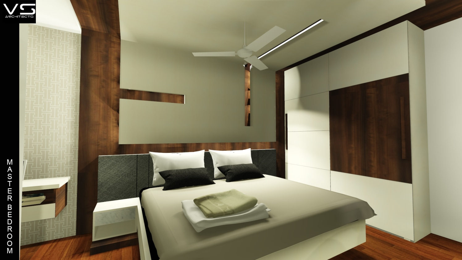 Bedroom with wooden furniture and flooring by Vivospace Architects Bedroom Modern | Interior Design Photos & Ideas
