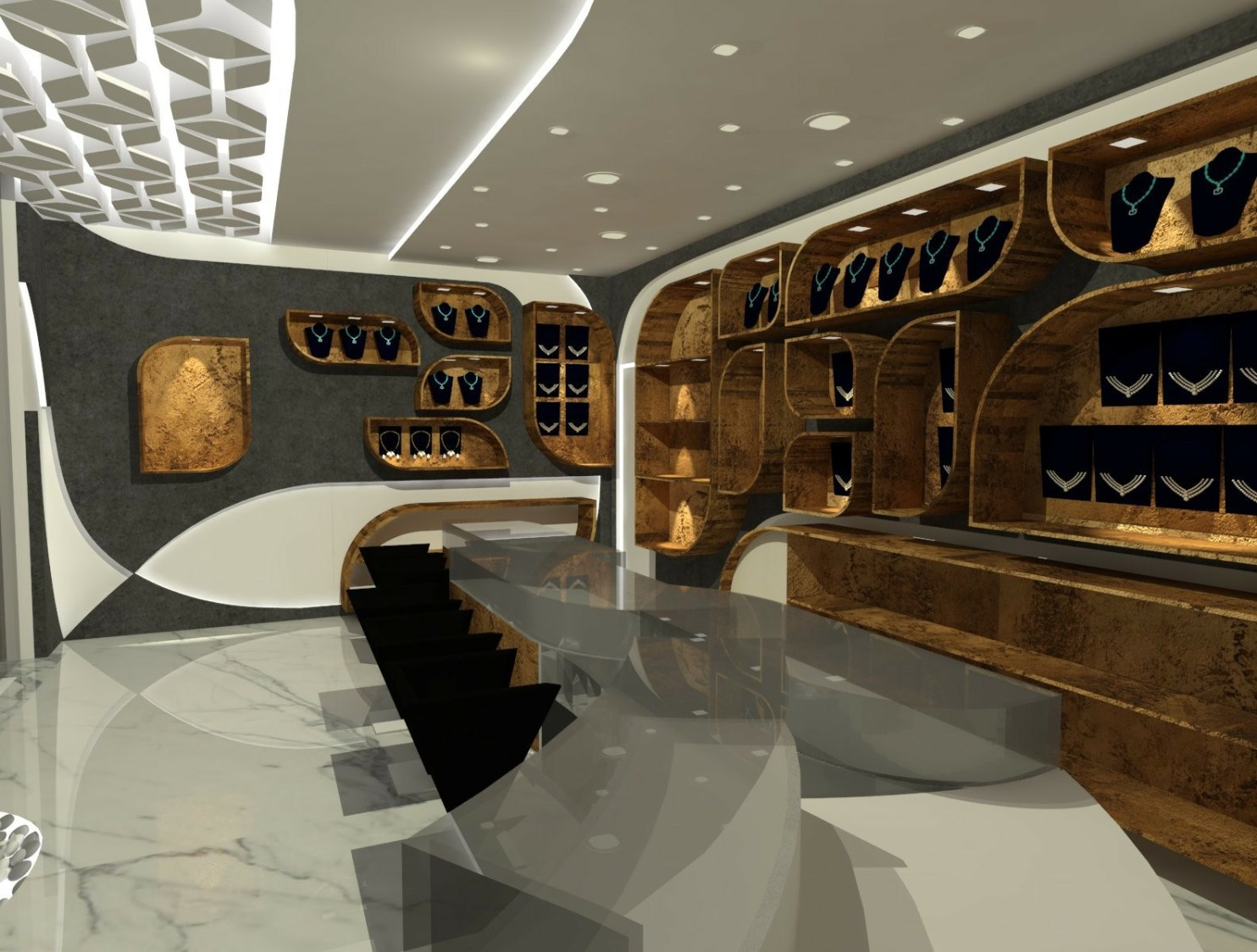 A spacious jewellery store with marble flooring and wooden furniture by Vivospace Architects Modern | Interior Design Photos & Ideas