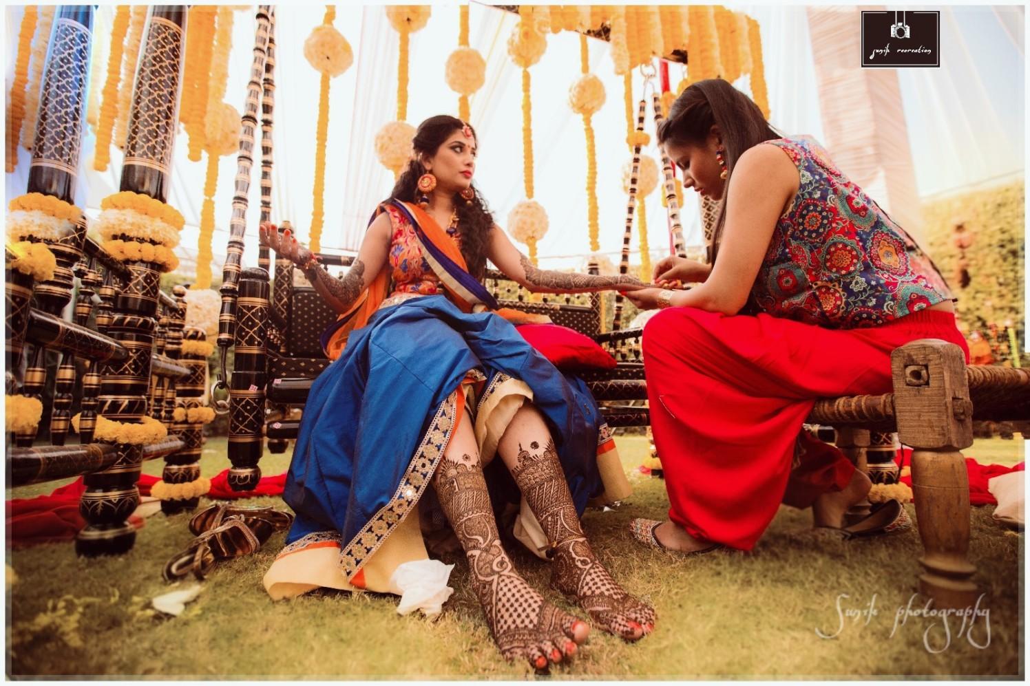 Elegant bride with beautiful mehendi by Sunik Recreations Wedding-photography | Weddings Photos & Ideas