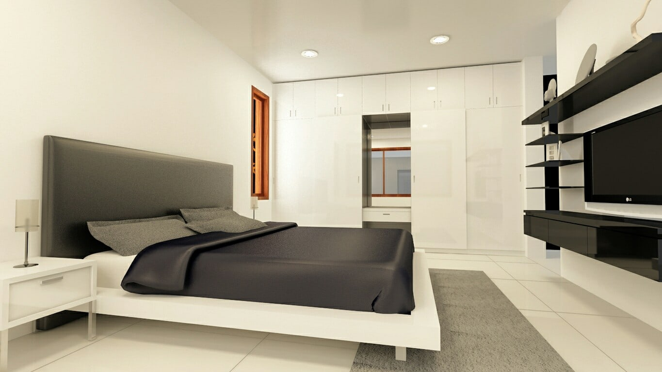 White Theme Bedroom With Tv Cabinet  And Wardrobe by Craftmen Studio Bedroom Modern | Interior Design Photos & Ideas