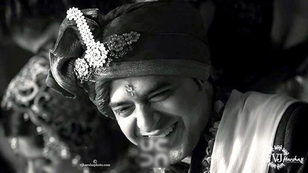 A Black and White Portrait of the Smiling Groom by Vjharsha Photography Wedding-photography | Weddings Photos & Ideas