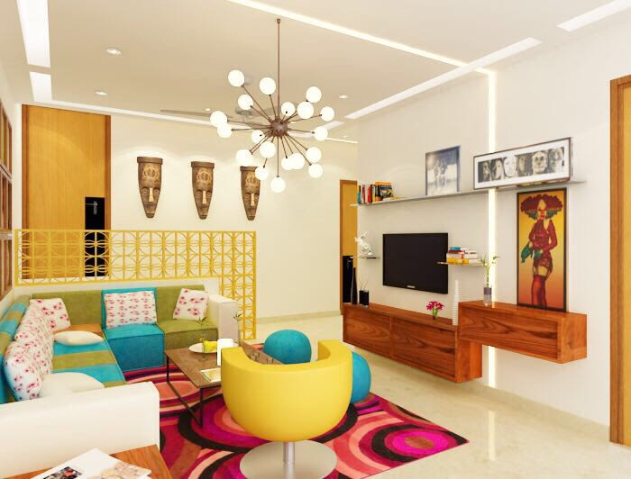 Colourful Living Room! by Space Interface - Architecture and Interior Design Living-room | Interior Design Photos & Ideas