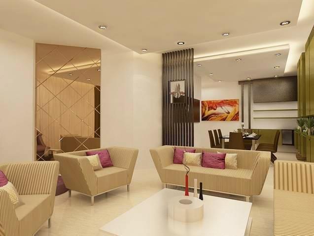 Spacious caramel living room with marble flooring by Reform Design  Living-room   Interior Design Photos & Ideas