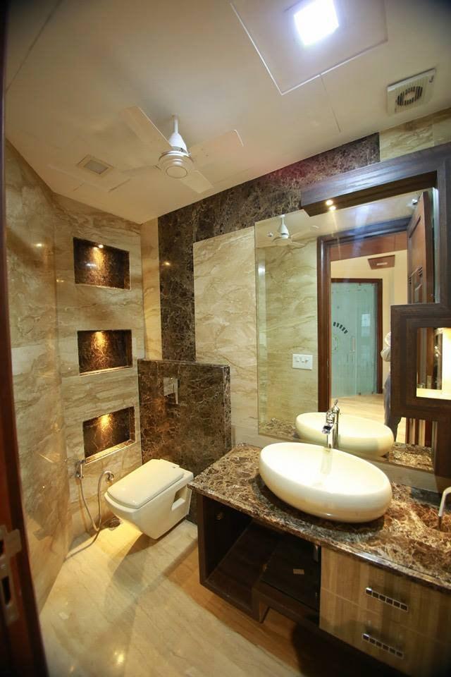 Bathroom With Limestone Walls by Damanjit Bajaj  Bathroom Modern | Interior Design Photos & Ideas