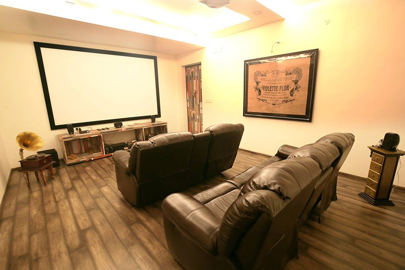 Home Theatre With Brown Leather Sofas by Nilesh Jain Indoor-spaces Contemporary | Interior Design Photos & Ideas