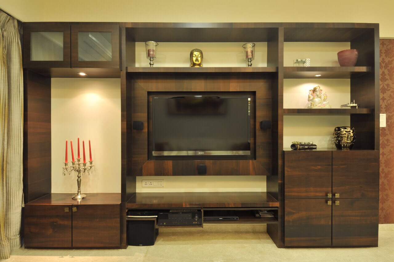 Living Room With A Wooden TV Unit by Mahesh Nagari Living-room Modern | Interior Design Photos & Ideas