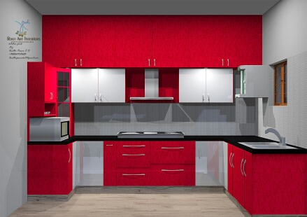 A modular L shaped kitchen by Root Art Interiors  Modular-kitchen | Interior Design Photos & Ideas