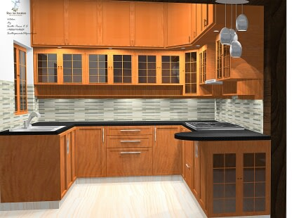 L shaped modular kitchen with wooden furniture by Root Art Interiors  Modular-kitchen | Interior Design Photos & Ideas