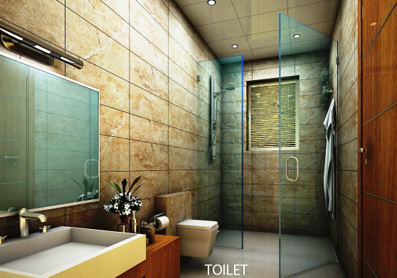 A premium washroom with glass partition by R S Architects Architectural lifestyle services