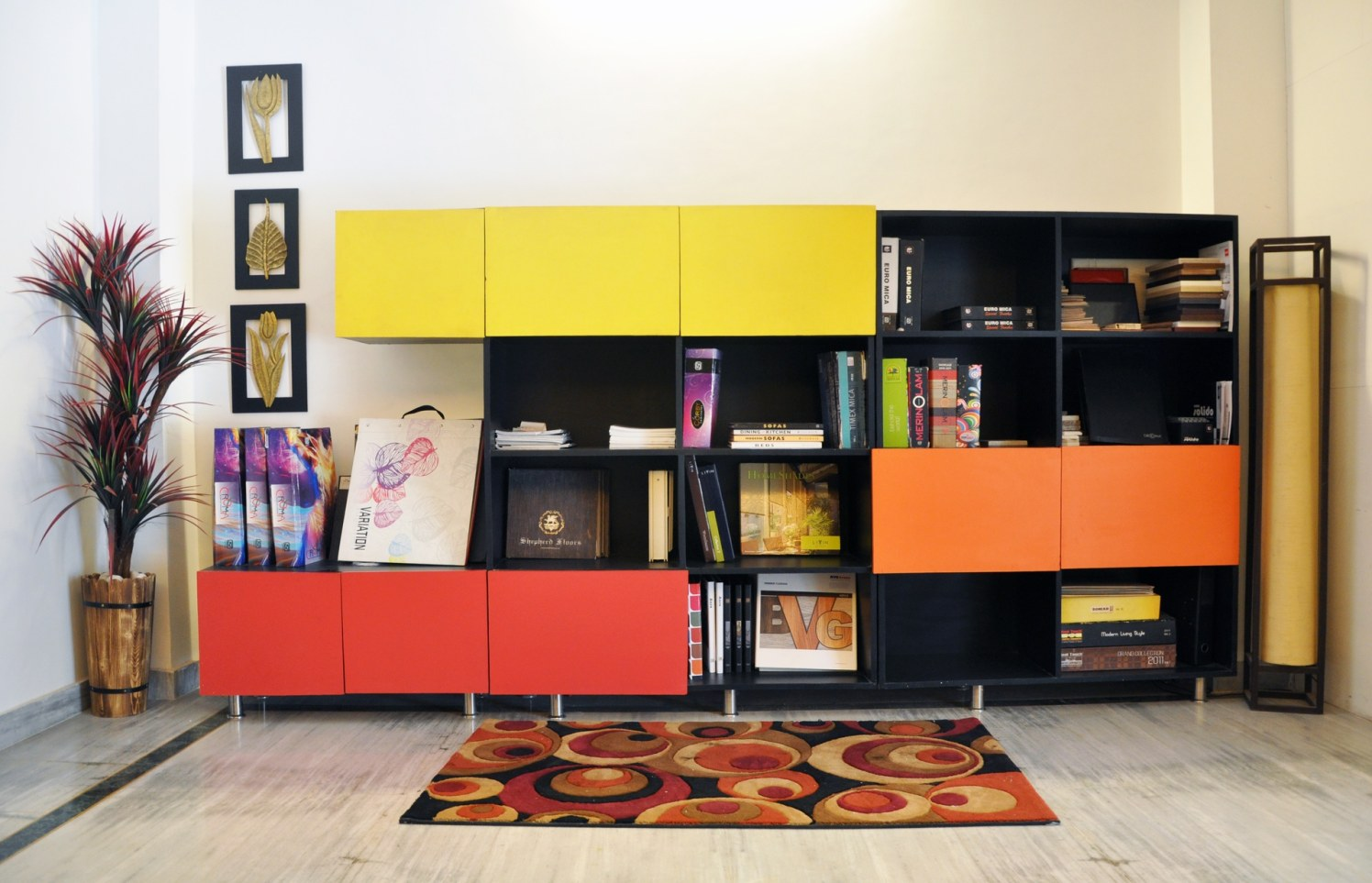 Multi coloured cupboard by One leaf interiors& exteriors Living-room Contemporary | Interior Design Photos & Ideas