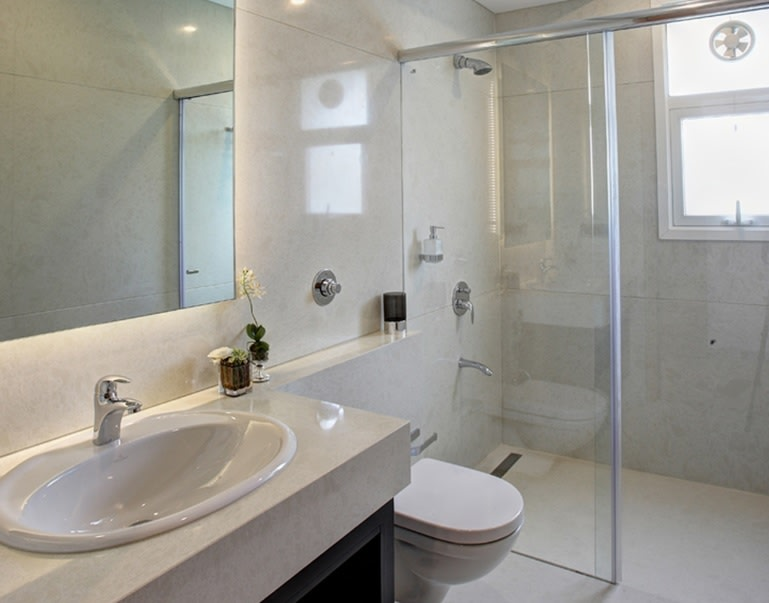 Pale Shade Interiors With A Glass Enclosure In Bathroom by Anjana Dhoot Bathroom Contemporary   Interior Design Photos & Ideas