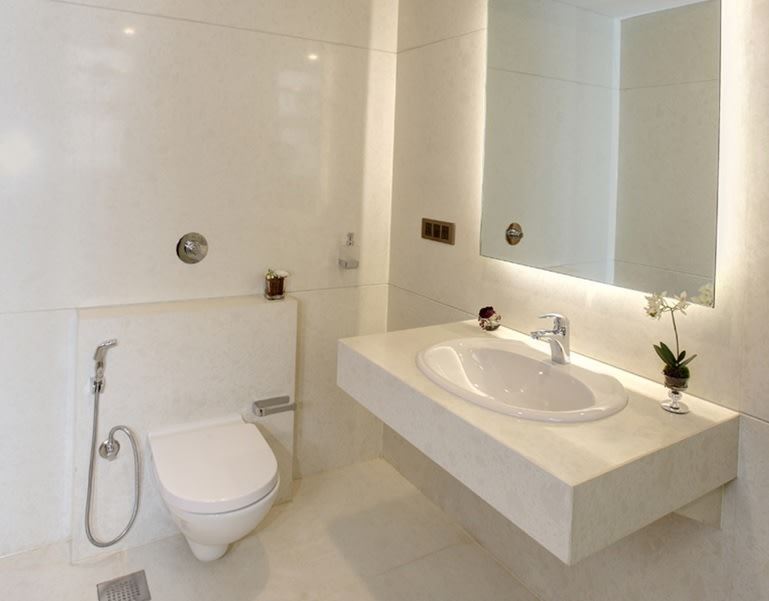 White Marble Furnishing In Western Style Bathroom by Anjana Dhoot Bathroom Contemporary   Interior Design Photos & Ideas