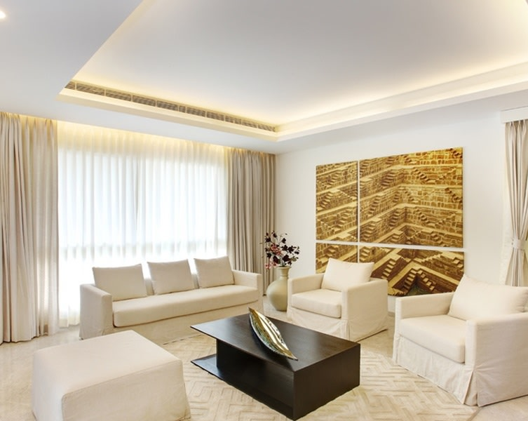 White themed living room by One leaf interiors& exteriors Living-room Contemporary   Interior Design Photos & Ideas