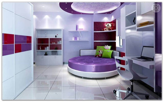 The round purple bed by Fluid Corners Bedroom Contemporary | Interior Design Photos & Ideas