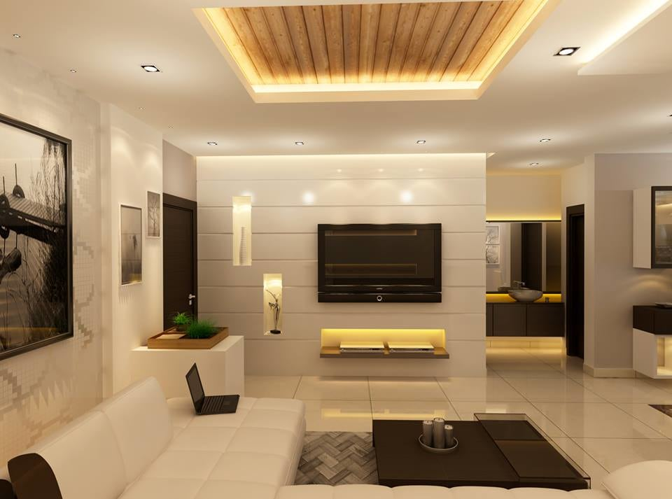 The wooden ceiling by Fluid Corners Living-room Minimalistic | Interior Design Photos & Ideas