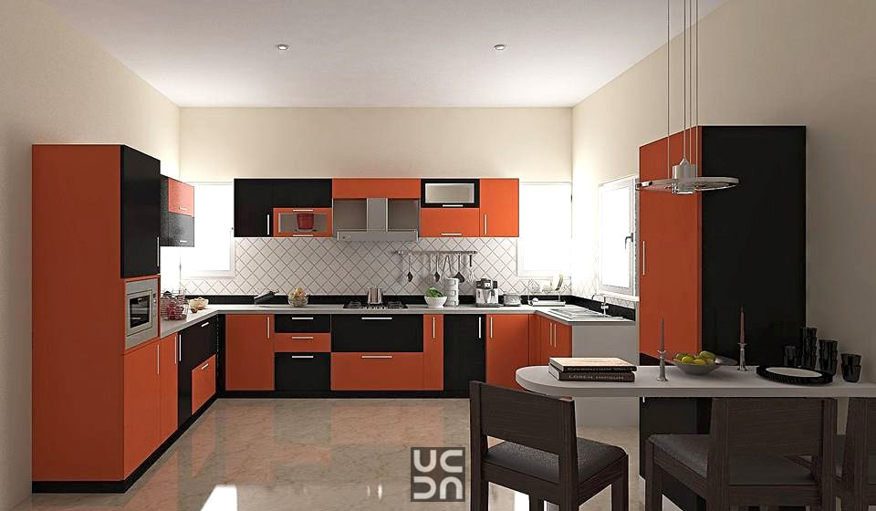 The orange and black kitchen! by Bote Modular-kitchen | Interior Design Photos & Ideas