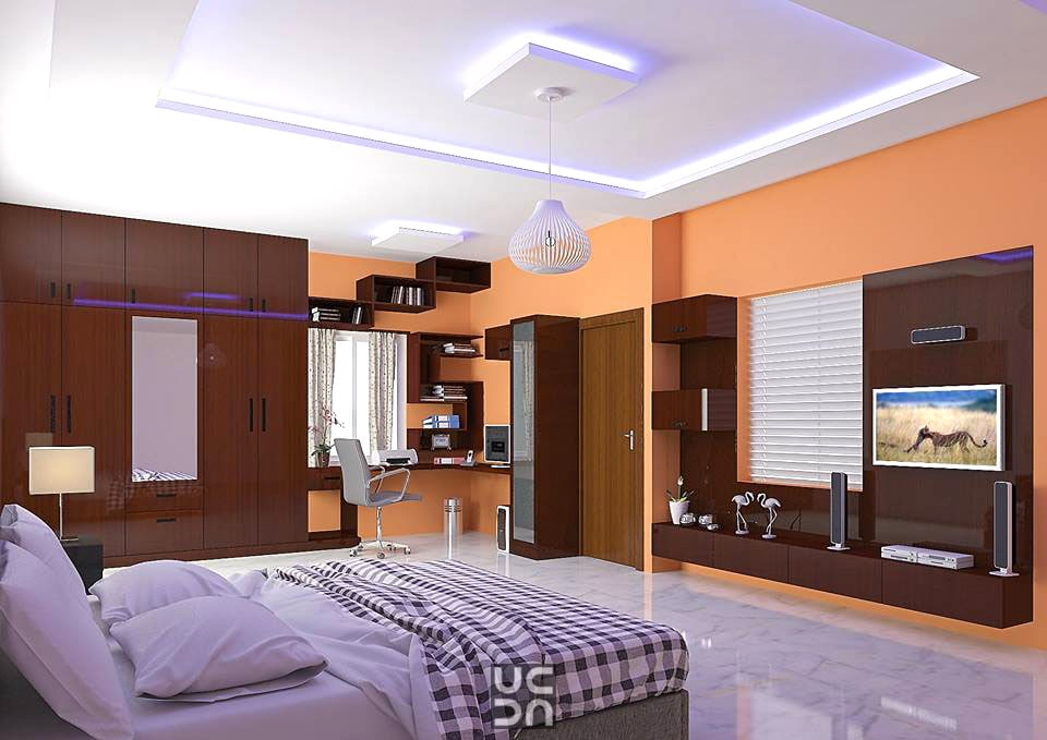 The orange bedroom by Bote Modern | Interior Design Photos & Ideas