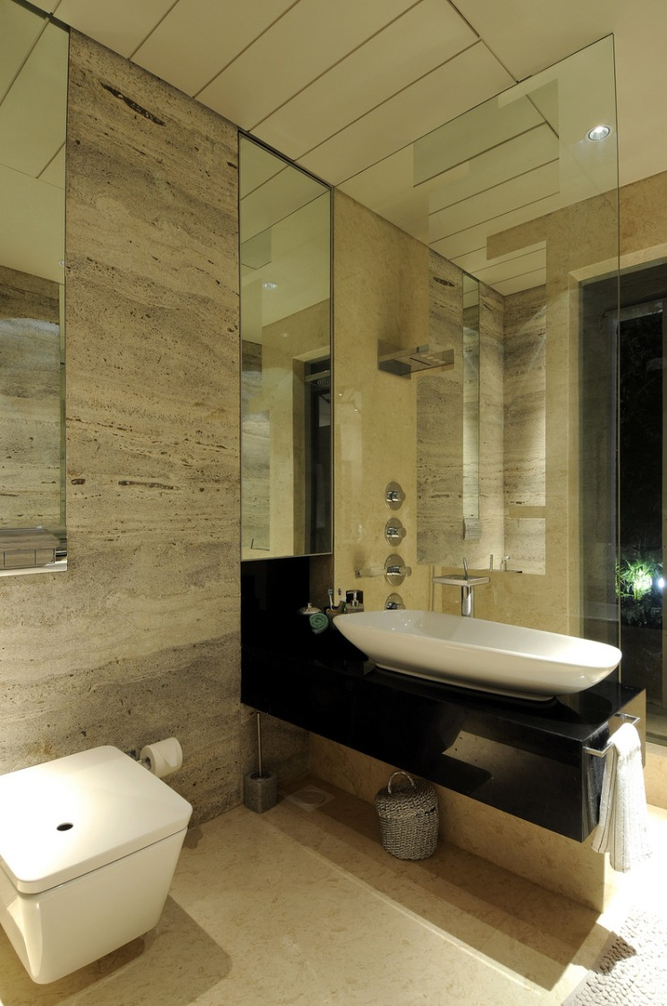Washroom with glass portion by E- Studio Bathroom Traditional | Interior Design Photos & Ideas