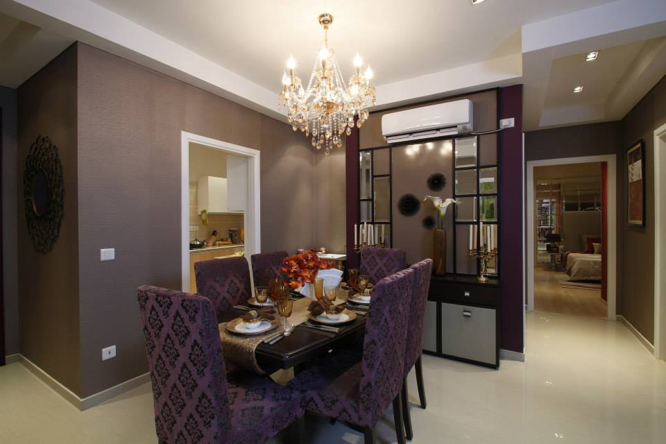 Brown Wooden Table And Purple Cushioned Chairs by Tanu Gupta Dining-room Contemporary | Interior Design Photos & Ideas