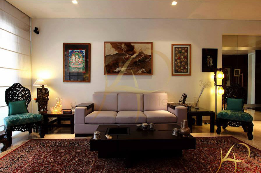Spacious Living Room With Cream  Sofa by KP Interior Living-room Contemporary   Interior Design Photos & Ideas