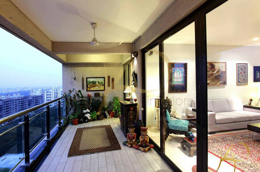 Traditional Balcony With Wooden Flooring by Krushna Paatil Open-spaces Contemporary | Interior Design Photos & Ideas