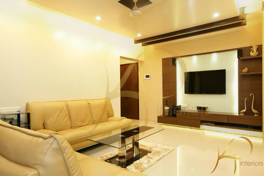 Spacious Living Room With Mustard Leather Sofas by KP Interior Living-room Contemporary | Interior Design Photos & Ideas