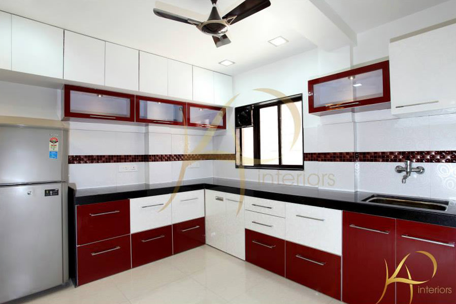 Maroon Modular Kitchen by KP Interior Modular-kitchen Contemporary | Interior Design Photos & Ideas