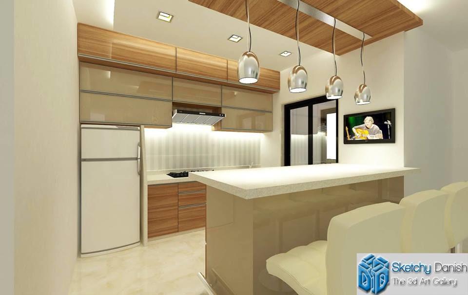 Modular G shaped kitchen with marble flooring by Sketchy Danish Modular-kitchen Modern | Interior Design Photos & Ideas