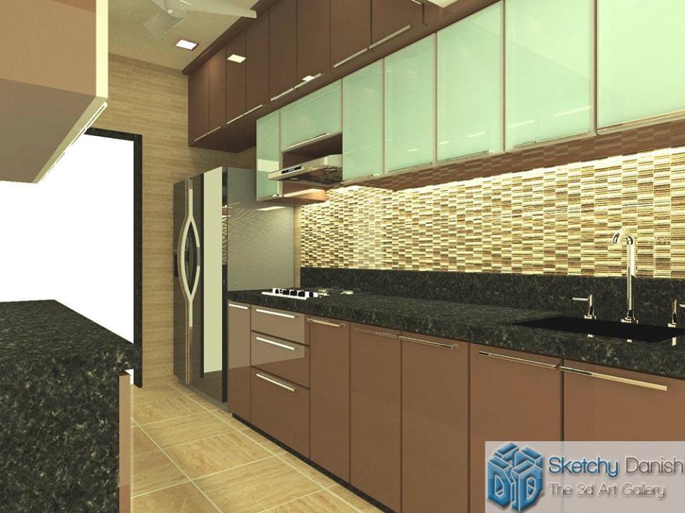Modular parallel kitchen by Sketchy Danish Modular-kitchen Modern | Interior Design Photos & Ideas