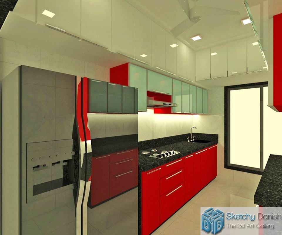 modular paraller kitchen by Sketchy Danish Modular-kitchen Modern | Interior Design Photos & Ideas