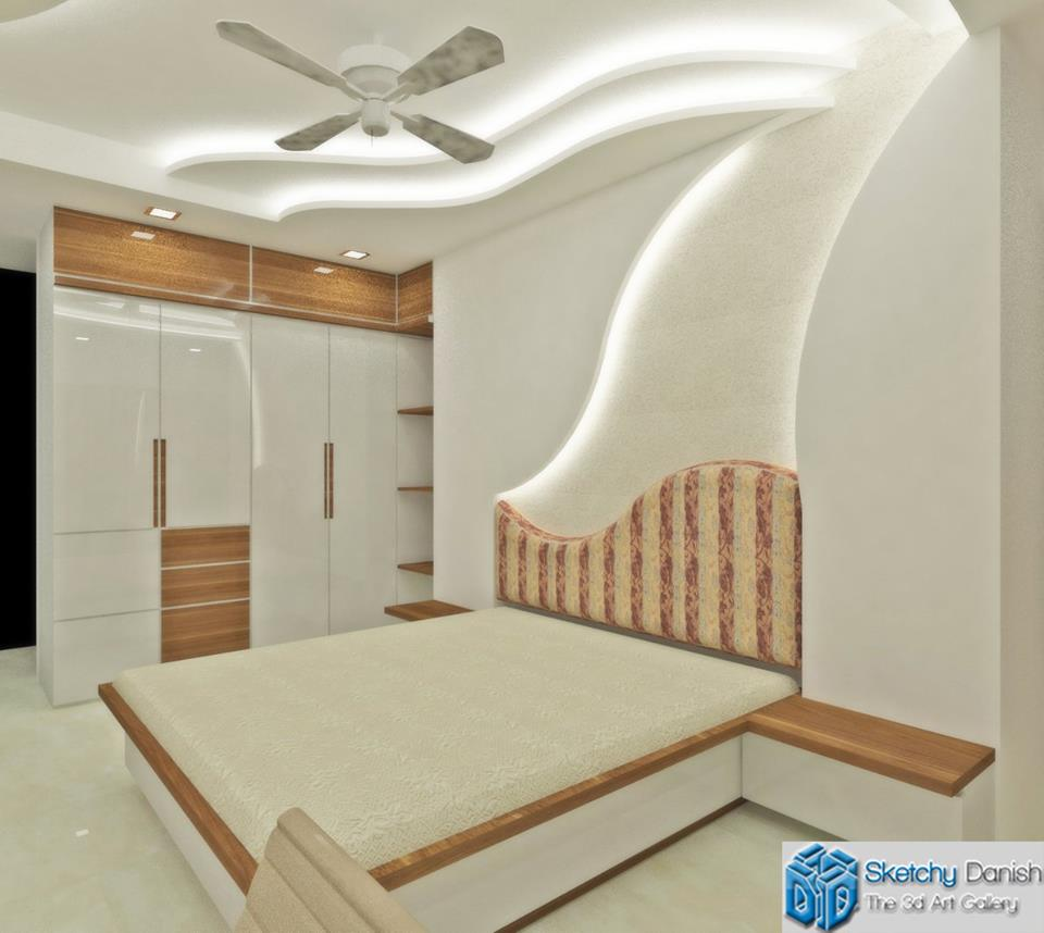 3D design of bedroom with marble flooring by Sketchy Danish Bedroom Modern | Interior Design Photos & Ideas