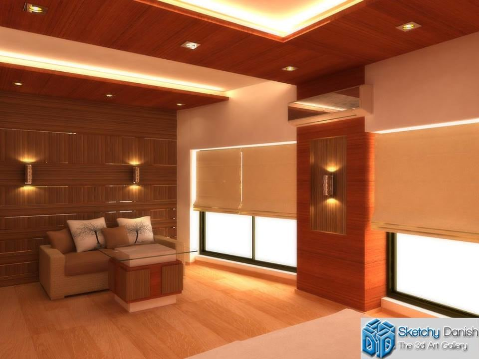 3D design of a wooden floored living room by Sketchy Danish Living-room Contemporary | Interior Design Photos & Ideas