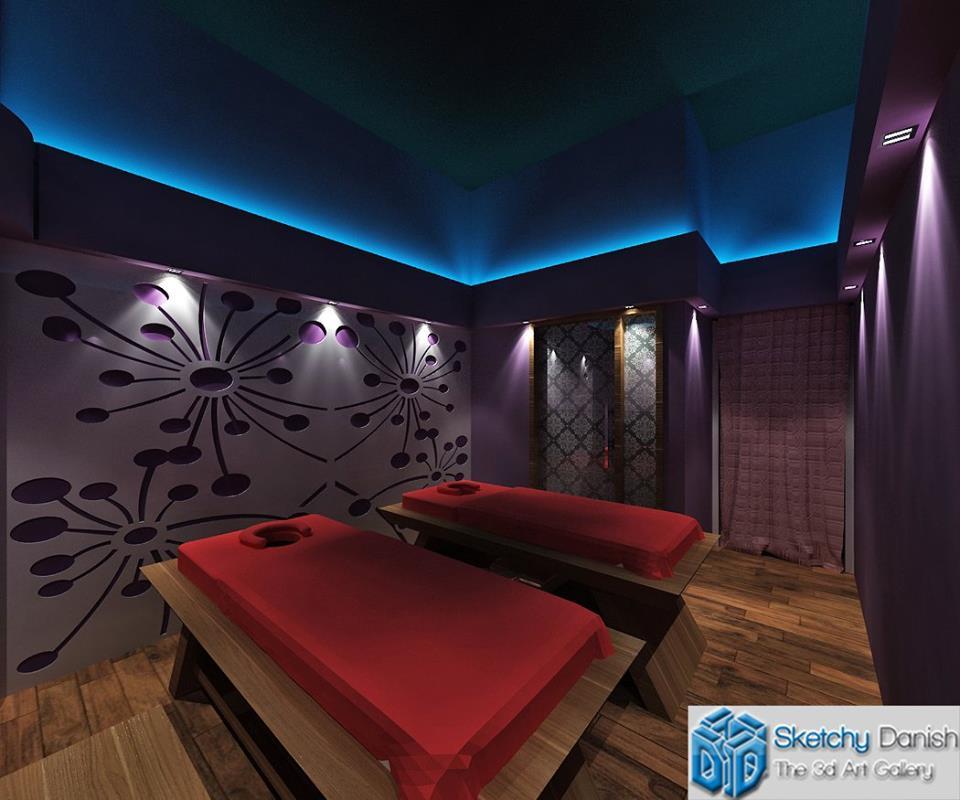 3D design of a guest bedroom by Sketchy Danish Bedroom Contemporary | Interior Design Photos & Ideas